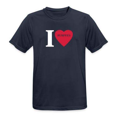 I Love Burpees #1 - Motiv vorne, Weiss / Rot - Männer T-Shirt atmungsaktiv