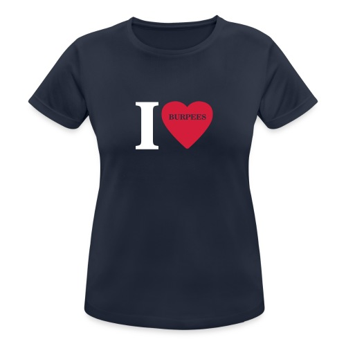 I Love Burpees #1 - Motiv vorne, Weiss / Rot - Frauen T-Shirt atmungsaktiv