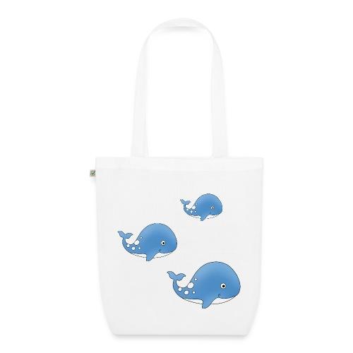 Walfisch, Tasche mit süßen, kleinen Walen - Bio-Stoffbeutel