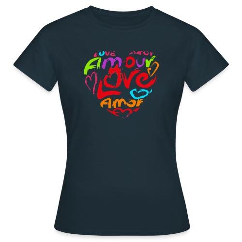 Herz aus Buchstaben, Wörtern, Love, Amour - Frauen T-Shirt