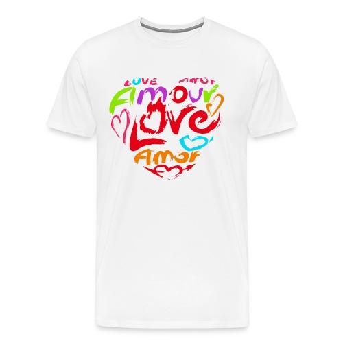 Herz aus Buchstaben, Wörtern, Love, Amour - Männer Premium T-Shirt