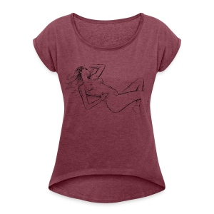 Female t-shirt, Nude designed by Samy Lalmi - Women's T-shirt with rolled up sleeves