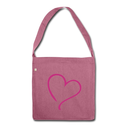 Pink Heart Recycled Bag - Shoulder Bag made from recycled material