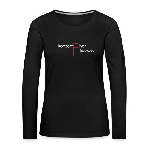 Logo-Shirt Front weiß/rot - Frauen Premium Langarmshirt
