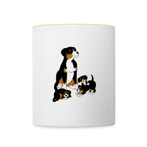 Entlebucher Dog and Puppies - Contrasting Mug
