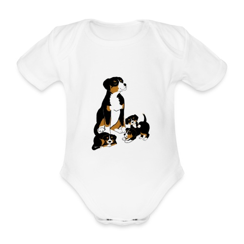 Entlebucher Dog and Puppies - T shirt - Organic Short-sleeved Baby Bodysuit