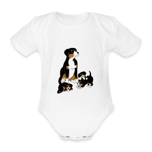 Entlebucher Dog and Puppies - T shirt - Organic Short-sleeved Baby Bodysuit