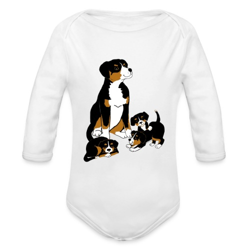 Entlebucher Dog and Puppies - T shirt - Organic Longsleeve Baby Bodysuit