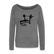 Hoodies & Sweatshirts ~ Women's Boat Neck Long Sleeve Top ~ F*ck Stress Bench Press | Womens v-neck tee