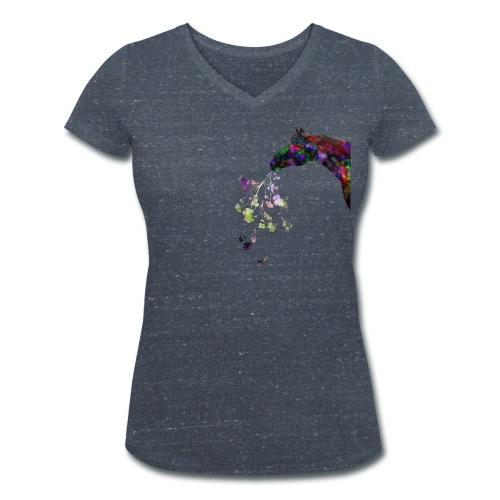 Scwarzes Pferd haltet Blu - Frauen Bio-T-Shirt mit V-Ausschnitt von Stanley & Stella