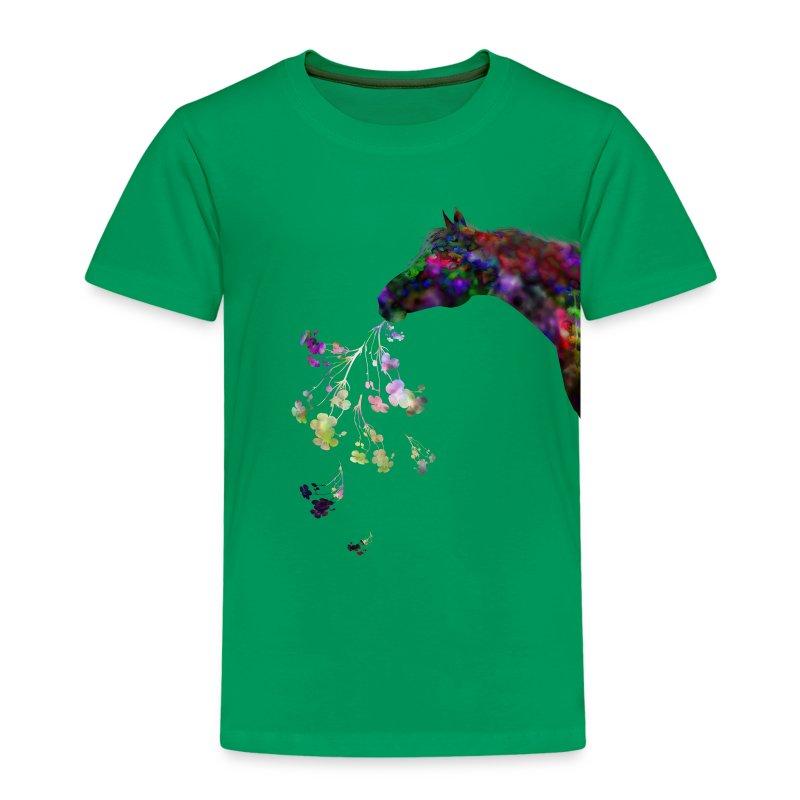 Scwarzes Pferd haltet Blu - Kinder Premium T-Shirt