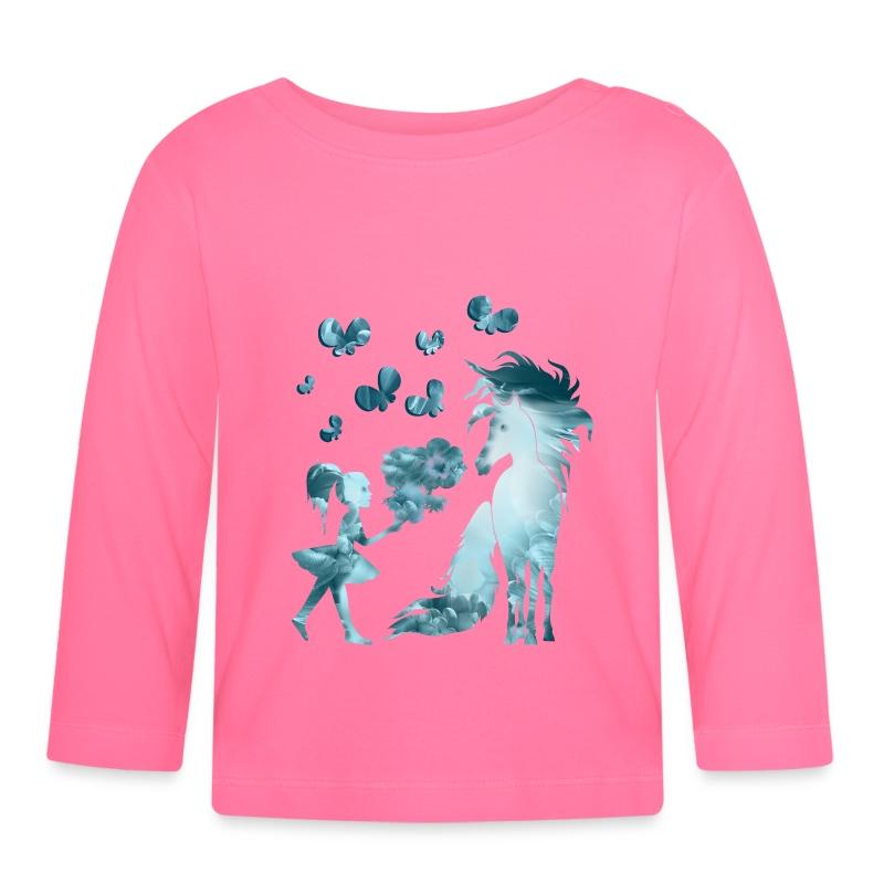 Kleine Mädchen und Pferd - Baby Langarmshirt