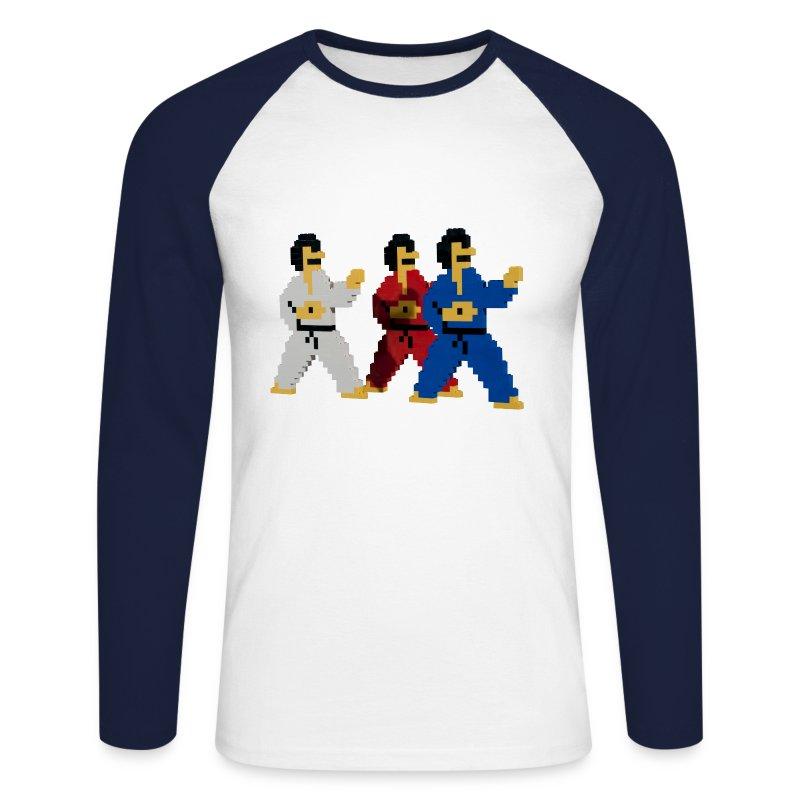 8-bit trip ninjas  1  - Men's Long Sleeve Baseball T-Shirt