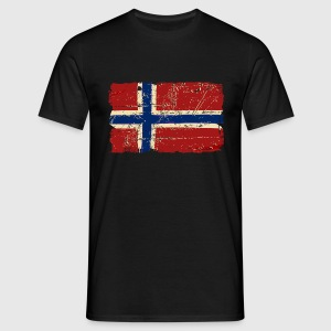 Norway Flag - Vintage Look  T-shirts - T-shirt herr