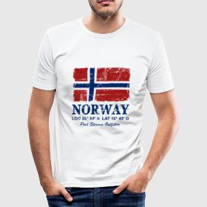 Norway Flag - Vintage Look  T-shirts - Slim Fit T-shirt herr