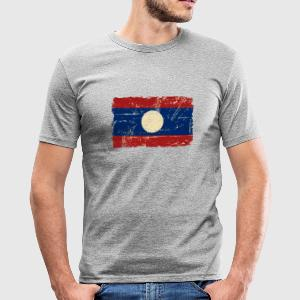Laos - Flagg - Vintage Look  T-shirts - Slim Fit T-shirt herr