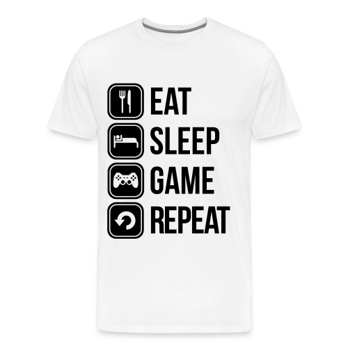 Eat Sleep Game Repeat T-Shirt - Mannen Premium T-shirt