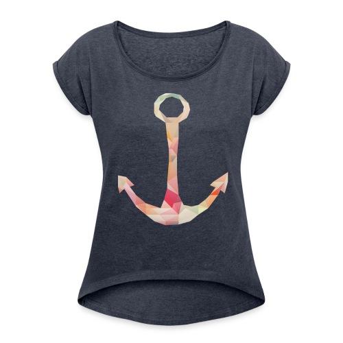 Frauen T-Shirt mit gerollten Ärmeln - anker,grafik,hamburg,lowpoly,polygon