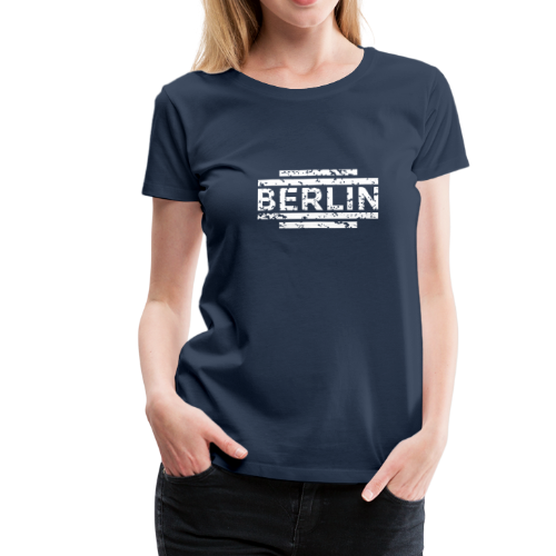 Berlin T-Shirt 20th Vintage White (Damen Navy) - Frauen Premium T-Shirt