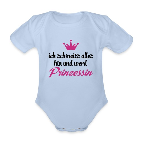 Babystrampler Prinzessin // grau - Baby Bio-Kurzarm-Body