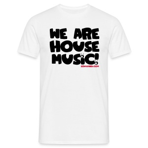 Black with Red Flexi Print on White Tee - We Are House Music! - Men's T-Shirt