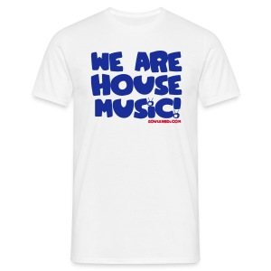 Blue with Red Print Tee - We Are House Music! - Men's T-Shirt
