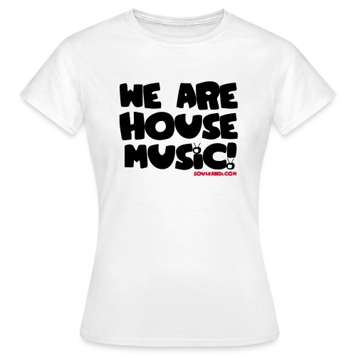 Women's Black with Red Print Tee - We Are House Music - Women's T-Shirt
