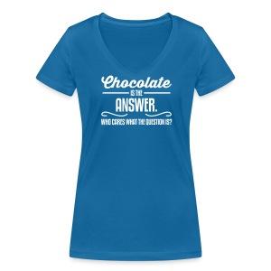Girlieshirt Chocolate is the answer..  - Vrouwen bio T-shirt met V-hals van Stanley & Stella
