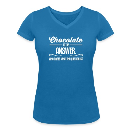 Girlieshirt Chocolate is the answer..  - Vrouwen bio T-shirt met V-hals van Stanley & Stella