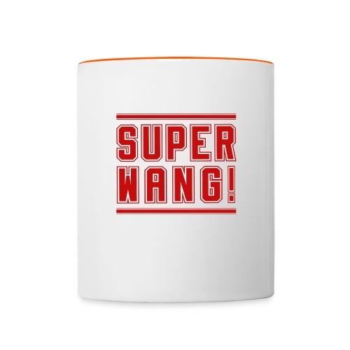 SUPER WANG! Becher weiß mit rotem Logo - Tasse zweifarbig
