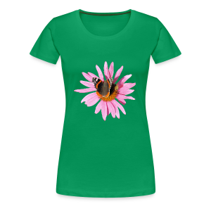 TIAN GREEN Shirt Women - Sonnenhut Schmetterling - Frauen Premium T-Shirt