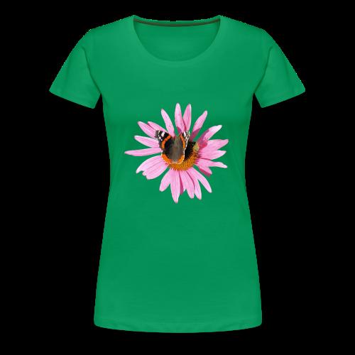 TIAN GREEN Shirt Women - Sonnenhut Schmetterling - Frauen Premium T-Shirt