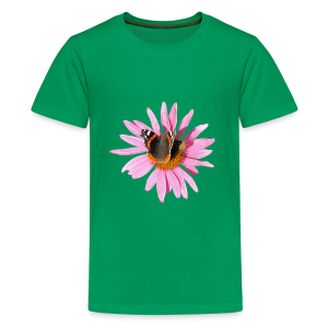 TIAN GREEN Shirt Teen - Sonnenhut Schmetterling - Teenager Premium T-Shirt