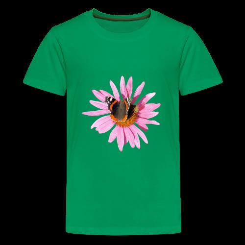 TIAN GREEN Shirt Teen - Sonnenhut Schmetterling - Teenager Premium T-Shirt