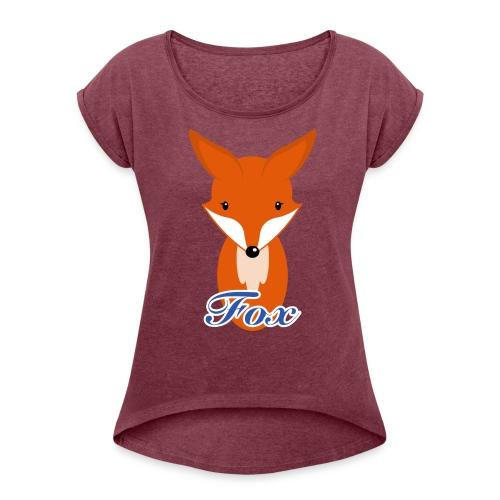 Fuchs Retro Style T-Shirts - Frauen T-Shirt mit gerollten Ärmeln