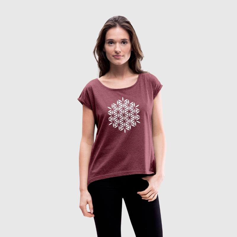 Flower of life, Sacred geometry, Yoga, meditation T-shirts - Vrouwen T-shirt met opgerolde mouwen
