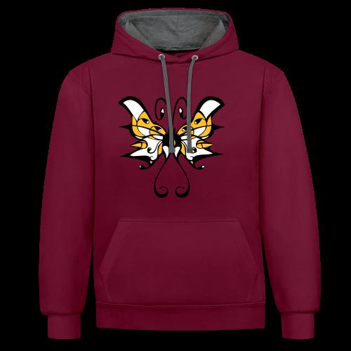 TIAN GREEN Pullover Unisex  - Schmetterling - Kontrast-Hoodie