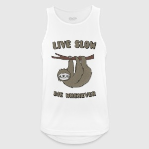 Funny & Cute Sloth Live Slow Die Whenever Slogan Ropa deportiva - Camiseta sin mangas hombre transpirable