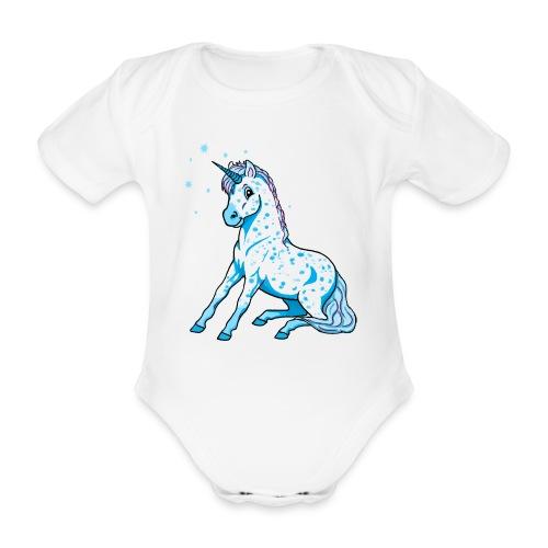 Pünktchen Einhorn blau sitzend - Baby - Baby Bio-Kurzarm-Body