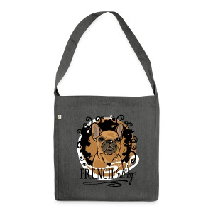 French Bulldog Ornamental Blau  - Schultertasche aus Recycling-Material