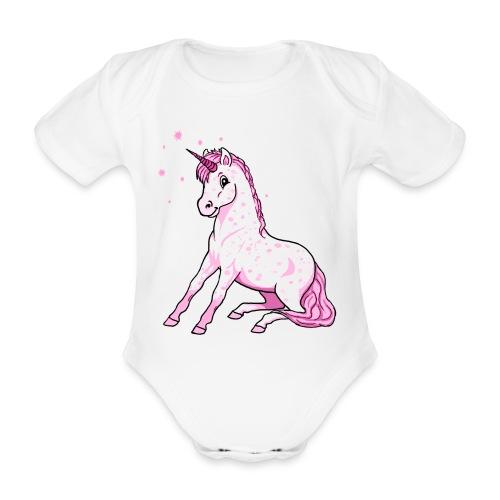 Pünktchen Einhorn rosa sitzend - Baby - Baby Bio-Kurzarm-Body
