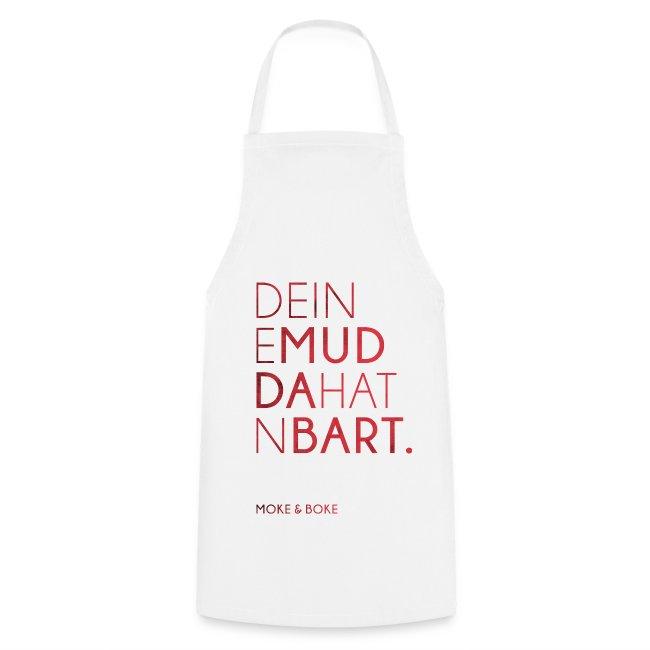 Deine Mudda Kochschürze Rot/Weiss