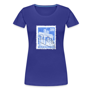Berlin T-Shirt Brandenburger Tor Briefmarke 1948 (Damen/Blau) - Frauen Premium T-Shirt
