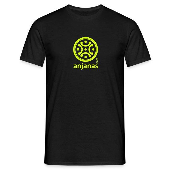 Camiseta de chico en negro con logo amarillo.