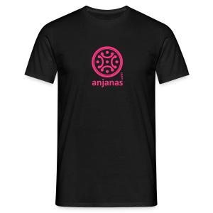 Camiseta de chico en negro con logo rosa. - Camiseta hombre