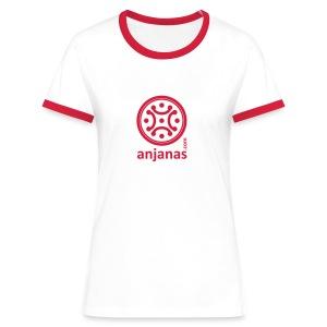 Chica morado bordes rojos - Camiseta contraste mujer