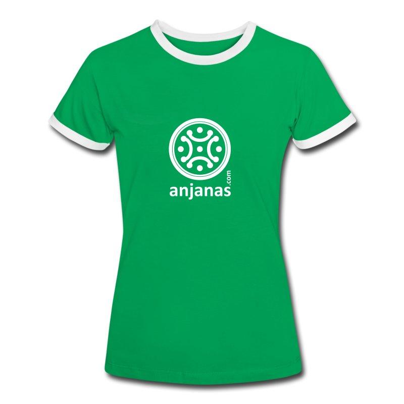 Chica verde bordes blancos - Camiseta contraste mujer
