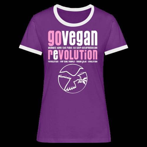 GO VEGAN REVOLUTION - Frauen Kontrast-T-Shirt