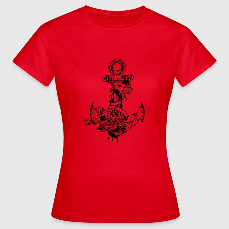 anker mit blumen t shirt spreadshirt. Black Bedroom Furniture Sets. Home Design Ideas
