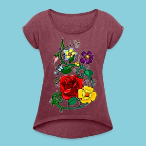Women's T-shirt Flowers N°3 - Women's T-shirt with rolled up sleeves